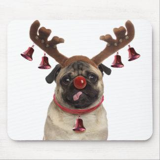 Pug antlers - christmas pug - merry christmas mouse pad