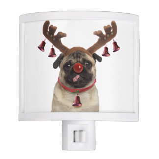 Pug antlers - christmas pug - merry christmas night light