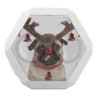 Pug antlers - christmas pug - merry christmas white bluetooth speaker