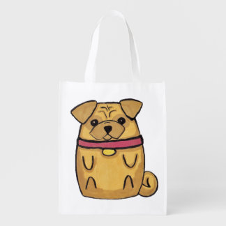 Pug Bag Reusable Grocery Bags