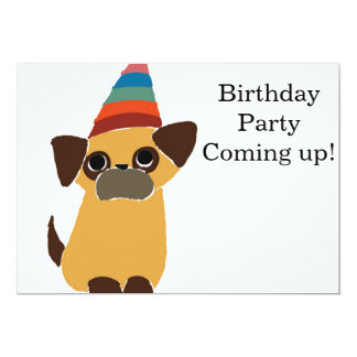 Pug Birthday Card Invite