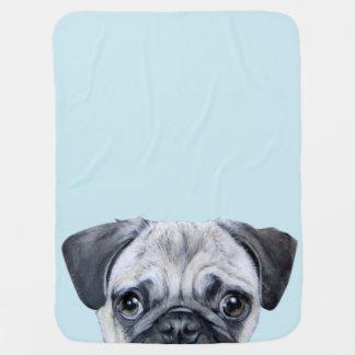 pug blue baby blanket