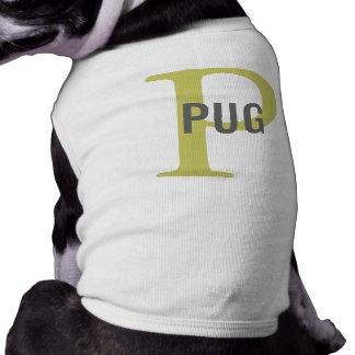 Pug Breed Monogram Design Doggie T Shirt
