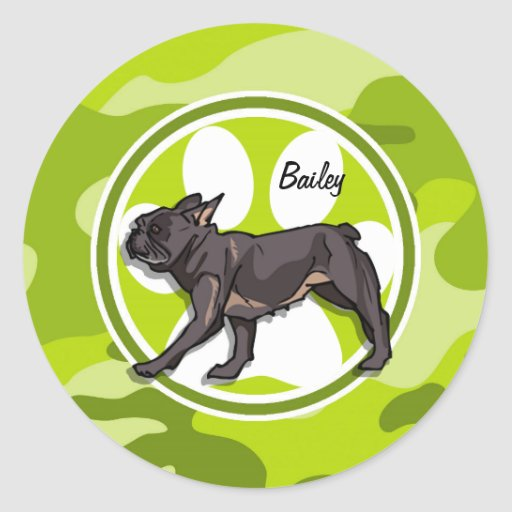 Pug; bright green camo, camouflage round stickers