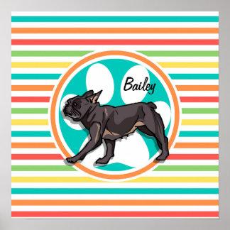 Pug Bright Rainbow Stripes Print