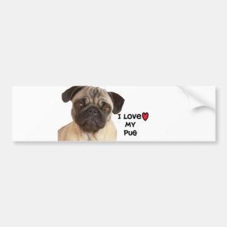 """Pug Bumper Sticker"""" I love my Pug"""" Bumper Sticker"""