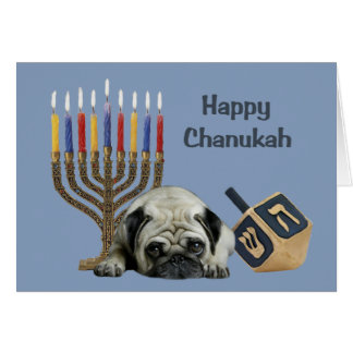 Pug Chanukah Card Menorah Dreidel