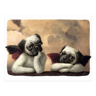 Pug Cherubs Inspired by Raphael Postcard