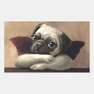 Pug Cherubs Inspired by Raphael Rectangular Sticker