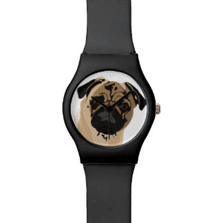 Pug clock/black watch