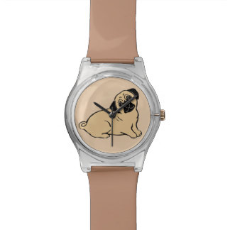 Pug Creme and Brown Wristwatch