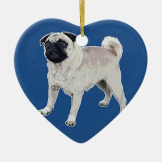 Pug cutie ceramic heart ornament