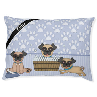 Pug Cuties Blue Large Dog Bed