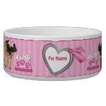 Pug Cuties Pink Stripe - Customize Pet Bowls
