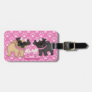 Pug Cuties Pink Stripes and Paws - Customize Luggage Tag