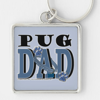 Pug DAD Silver-Colored Square Keychain