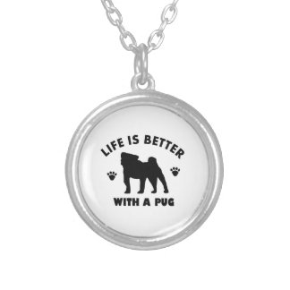 pug design silver plated necklace