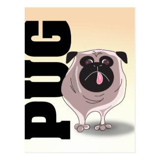Pug Dog Art Post Card