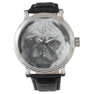 Pug Dog Black & White Dog Lover's Watch