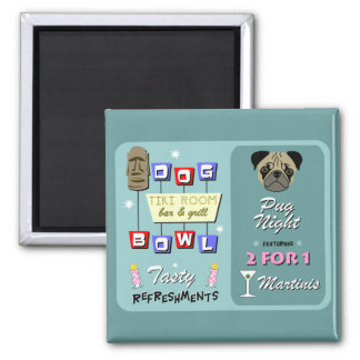 Pug Dog Bowling Tiki Night Magnet