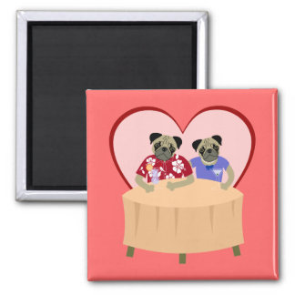 Pug Dog Boy and Girl Love Magnet