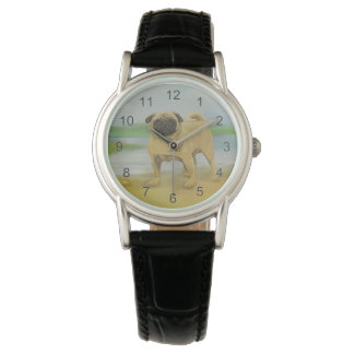 Pug dog by the river art wristwatches
