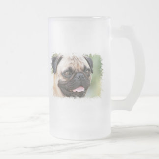 Pug Dog Frosted Beer Mug