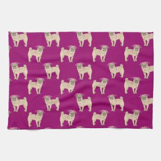Pug Dog Girl pattern Hand Towels