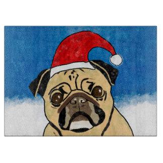 Pug Dog in Snow Christmas Watercolor Art Portrait Cutting Board