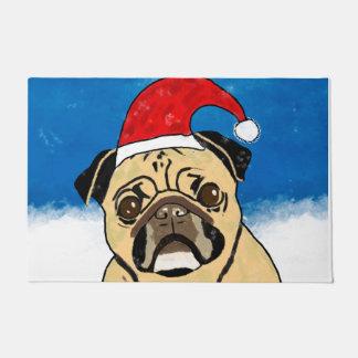 Pug Dog in Snow Christmas Watercolor Art Portrait Doormat