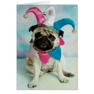 Pug Dog Jester Clown Card