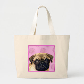 Pug Dog Large Tote Bag