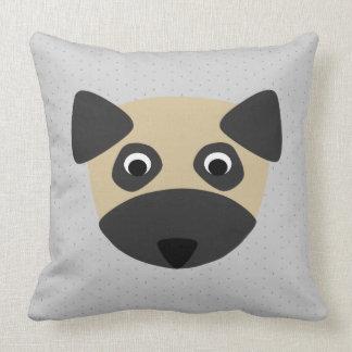 Pug Dog on Confetti Print Throw Pillow