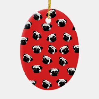 Pug dog pattern ceramic oval ornament