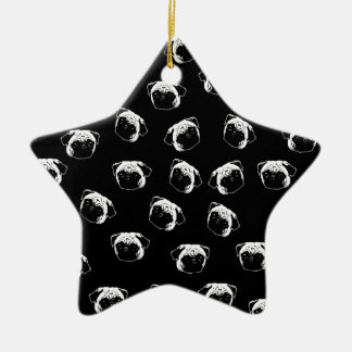 Pug dog pattern ceramic star ornament