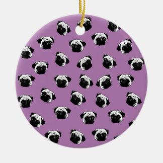 Pug dog pattern round ceramic ornament
