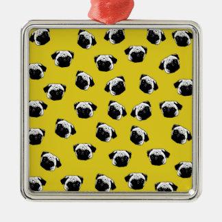 Pug dog pattern Silver-Colored square ornament