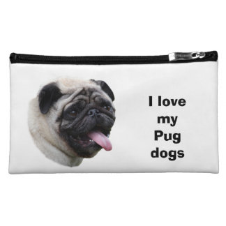 Pug dog photo portrait cosmetic bags