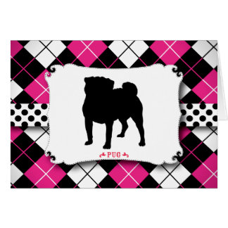 Pug Dog Punk Rock Pink Argyle Card