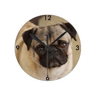 PUG DOG PUP ROUND CLOCK