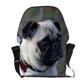 Pug dog Rickshaw messenger bag