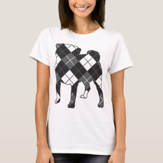 Pug dog silhouette Argyle T-Shirt