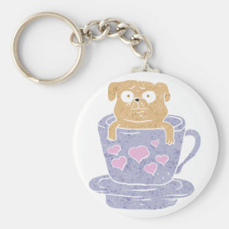 Pug dog sitting in purple  cup with heart. basic round button keychain
