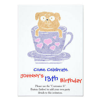 Pug dog sitting in purple  cup with heart. card