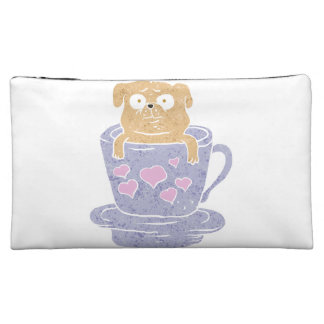 Pug dog sitting in purple  cup with heart. cosmetic bag