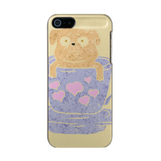 Pug dog sitting in purple  cup with heart. incipio feather® shine iPhone 5 case