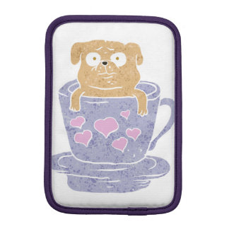 Pug dog sitting in purple  cup with heart. iPad mini sleeves