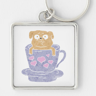 Pug dog sitting in purple  cup with heart. Silver-Colored square keychain