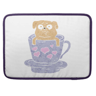 Pug dog sitting in purple  cup with heart. sleeve for MacBook pro