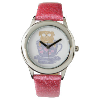 Pug dog sitting in purple  cup with heart. wristwatches